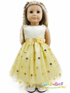 "Doll Clothes fits 18"" American Girl Handmade Yellow Party Dress"