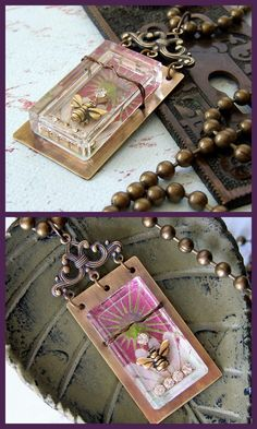 Bee Keeper Reliquary Necklace by Rings & Things designer Mollie Valente.    DIY instructions featuring glass bezel, metal blank, filigree, and TierraCast bee charm.