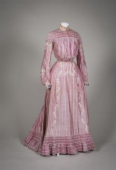 Dress, two-piece, pink iridescent silk with woven white embossed stripes, topped with cream flower applications of machine side, berry. Edwardian Gowns, Edwardian Clothing, Antique Clothing, Historical Clothing, 1800s Clothing, Historical Dress, 1900s Fashion, Edwardian Fashion, Vintage Fashion