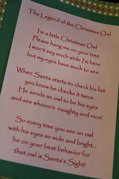 Legend of the Christmas Owl - Oh need to use this one