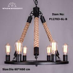 Ретро античная веревка люстры большой американский стиль люстра лампа для столовой/гостиной бар Восстановление Оборудования освещения купить на AliExpress