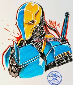 """thechamba: """"#TokyoComicCon2016 piece from last weekend. Here's #DC's #Deathstroke #pentel #BrushPen #Copicmarker #copic #theCHAMBA #Chamba """""""
