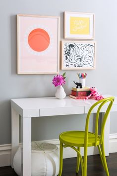 West Elm Parsons Desk with Drawers paired with chartreuse bentwood chair a well as white leather pouf.| White | Lacquered | Paint | Desk | Living Room | Study | Office