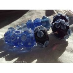 Lampwork Beads Blue Flower