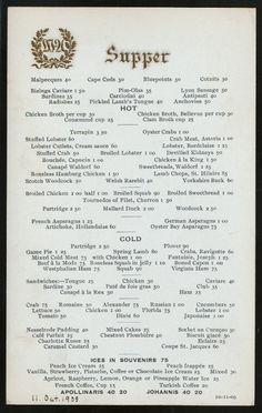 MENU: Supper menu at the Waldorf-Astoria, 1905.