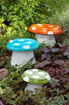 All Stuff: DIY Garden Mushroom - Made with terra cotta pots and drain trays.  What a cute kids stool for the garden!!