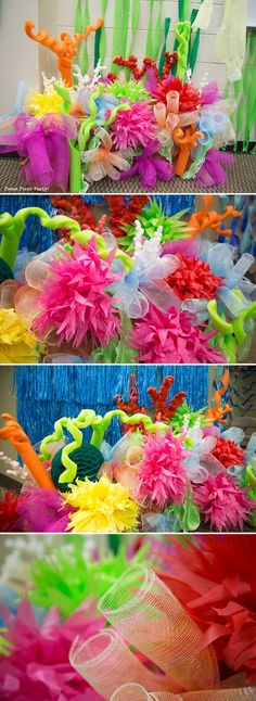 Amazing Under the Sea Party Decorations. Originally for Ocean Commotion VBS. Great for a mermaid or Nemo party. Create a Coral reef. Press Print Party! LOTS more ideas here: http://www.pressprintparty.com/diy/party-decorations/make-coral-reef-decoration-sea-party/