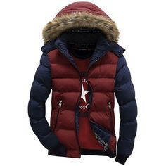 Hooded Design Men Parka Size Casual & Fit Men's Winter Coat Stand Collar Thick Man Down Jacket Contrast Color Large size Mens Winter Coat, Winter Jackets, Winter Overcoat, Men's Jackets, Winter Wear, Style Casual, Men Casual, Style Men, Militar Jacket