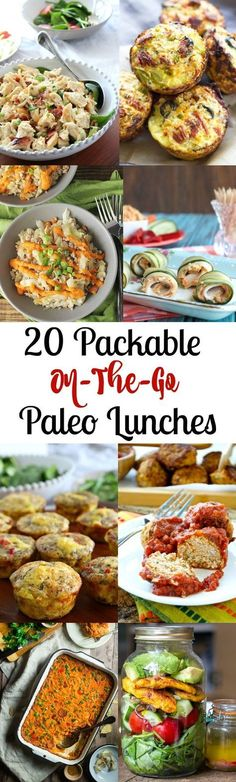 20 packable on-the-go Paleo Lunches for work or school plus what to pack your lunch in!