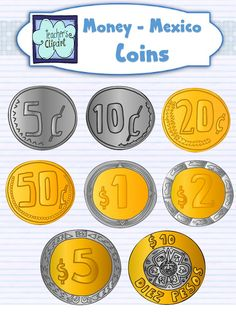 PESOS - Money Clipart - MEXICO- Coins and bills