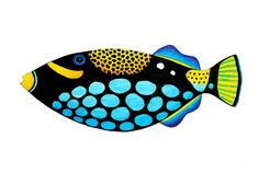 Triggerfish Paintings - Clown Triggerfish by Opas Chotiphantawanon Colorful Paintings, Animal Paintings, Paintings For Sale, Folk Art Fish, Fish Art, Painted Rocks, Painted Fish, Keramik Design, Ceramic Fish