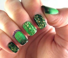 Glittered Green and Gradients #glitter #goldflakes #nailart - bellashoot.com