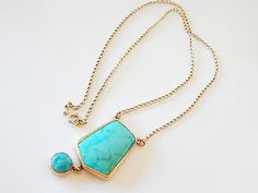"Antique Art Deco Polished 14kt Gold Encased Turquoise Book Chain 18"" Necklace 