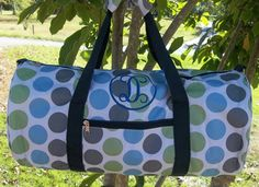 Monogrammed Multicolored Polka Dot Duffle Bag | The Old Bag's Bags