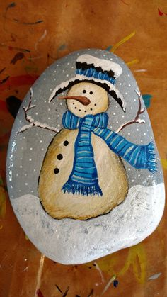 ~ PAINTED ROCKS ~ Snowman painted rock design.