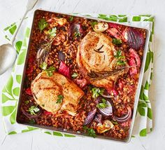 Pork chops with rhubarb & grains served in a tray