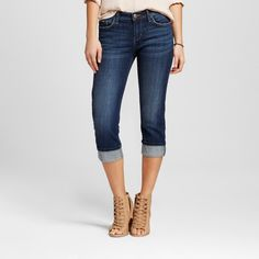 Women's Aberdeen Straight Roll Cuff Capri Jeans Twilight 16 Med - Crafted by Lee, Night Shadow