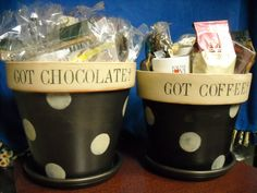 Fun gift idea for chocolate and coffee lovers! Decorate or paint garden pot with any theme. These are from our cool online auction, check it out through Feb 24 at  http://www.biddingforgood.com/auction/AuctionHome.action?auctionId=139105074