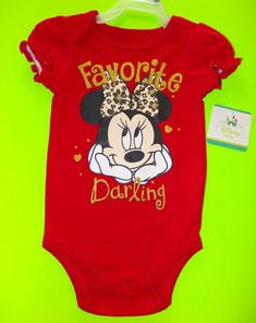Disney Baby Minnie Mouse FAVORITE DARLING Red One Piece Bodysuit NWT Size 12M #DisneyBaby #Everyday
