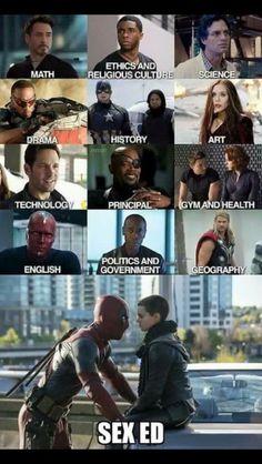 Deadpool teaching Sex Ed omg I'm dying