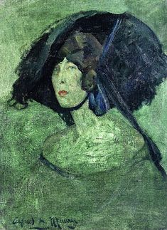 The Athenaeum - Green Lady (Alfred Henry Maurer - ) Asian Hair Ornaments, Feathered Hairstyles, American Artists, Portrait, Lady, Calming, Artwork, 21st, Paintings