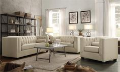Formal mixed with informal. White, sophisticated, but laid back. Chesterfield Sofa