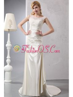 Beautiful Column Scoop Court Train Satin Lace Wedding Dress- $210.59  http://www.fashionos.com  | prom dress on sale | free shipping all over the world | inexpensive prom dress | custom made prom dresses | online prom dress store | fitted and sexy dress | strapless beaded prom dress | strapless evening dress | perfect evening dress |    Every Dress is Elaborate Handmade for you