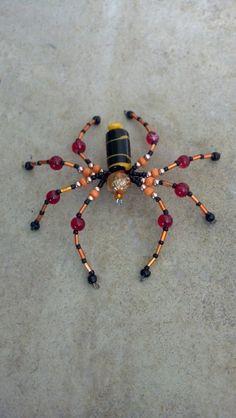 large beaded spider. orange red black & copper by Natjerm on Etsy, $12.00