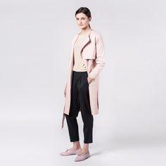 Wave Coat Pale Pink Elementy #coat #palepink #autumn #elementy #minimal #classic #polishfashion