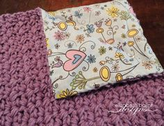 Crochet Baby Blanket. Purple Yarn with Cotton Fabric On Other Side. This blanket is plush and makes for a great item for tummy time. by ElizabethBalint