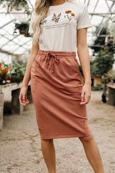 Destiny Calling Skirt - Some days pants just aren't an option. Our Destiny Calling Skirt is made for days like these. With pockets and a drawstring waistband for your convenience, and the softest material, you are going to love this skirt. Boho Outfits, Skirt Outfits, Dress Skirt, Casual Outfits, Summer Outfits, Cute Outfits, Fashion Outfits, Womens Fashion, Fashion Tips