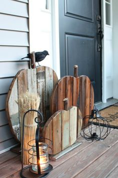 Make a Reclaimed Wood Pumpkin Fall Front Door with Reclaimed Wood Pumpkins Cute idea in large porch size or smaller indoor decor size.Fall Front Door with Reclaimed Wood Pumpkins Cute idea in large porch size or smaller indoor decor size. Wooden Pumpkins, Fall Pumpkins, Wooden Pumpkin Crafts, Pallet Pumpkin, Pumpkin Pumpkin, Porch Decorating, Decorating Ideas, Decor Ideas, Craft Ideas