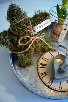 "Moss star wrapped in twine (make smallish ones?) :: Love anything with clocks/the ""faces of time"" ..."