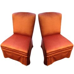 Pair Vintage Upholstered Slipper Chairs