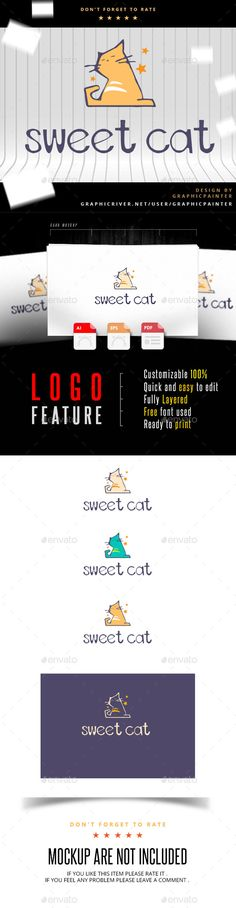 Cat  Logo Design Template Vector #logotype Download it here: http://graphicriver.net/item/cat-logo/11031892?s_rank=1094?ref=nesto