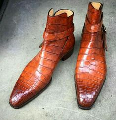 Handmade Men Jodhpur Style Real Leather Brown Crocodile Texture Ankle Boots, - Boots