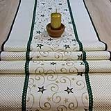 Vianočný stredový behúň je ušitý zo 100% bavlny.Kombinácia látok so zlato zelenou vianočnou potlačou je dozdobená po celej dĺžke zelenou bavlnenou krajkou a zeleným lemom. Doporučujem prať v práč...