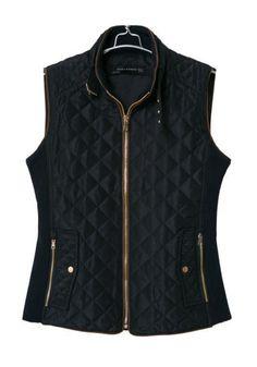 Navy Blue Plain Pockets Band Collar Fashion Vest