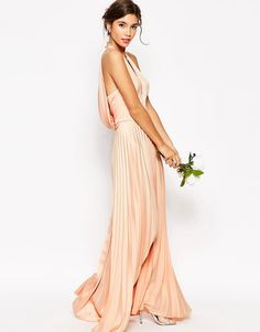 Image 2 ofASOS WEDDING Pleat Deep Plunge Maxi Dress