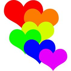 Hearts heart clipart rainbow clipart image 7