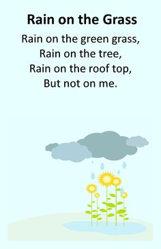 Itty Bitty Rhyme: Rain on the Grass Science For Toddlers, Songs For Toddlers, Rhymes For Kids, Kids Songs, April Preschool, Toddler Preschool, Preschool Fingerplays, Rain Poems, Green Song
