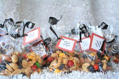 """I created these """"A Perfect Mix"""" trail mix treat bags (these are going in Welcome Bags for hotel guests for an upcoming wedding)."""