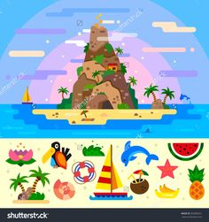 Fantastic summer paradise island with a huge mountain with cave, palms, dolphins, boat. Beach element isolated: flower, palm oasis, cocos cocktail, bananas, watermelon. Flat vector illustration set.