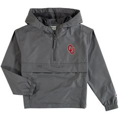Oklahoma Sooners Champion Youth Pack & Go Quarter-Zip Windbreaker Jacket - Graphite