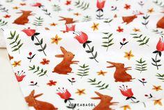 Tulip & Rabbit Fabric Tulip Pattern Rabbit Pattern by KoreaBacol