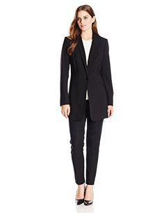 Calvin Klein Women's 1 Button Long Suit Jacket