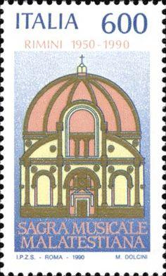 1990 - 40° Anniversario della Sagra  Musicale Malatestiana di Rimini (Emilia-Romagna) - facciata del tempio Malatestiano di Rimini, ripreso da un'antica medaglia.