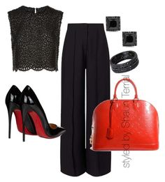 """""""Untitled #45"""" by shaunmyers on Polyvore featuring Costarellos, Miss Selfridge, Christian Louboutin and Louis Vuitton"""