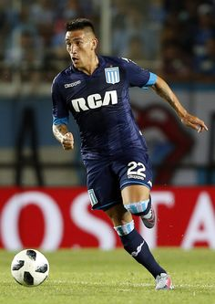 Ricardo Centurion of Racing Club drives the ball during a match between Racing Club and Huracan as part of Superliga Argentina at Presidente Peron Stadium on February 2018 in Avellaneda, Argentina. Genoa Cfc, Sports Betting, Club, Soccer Players, Racing, Football, Stock Photos, Baseball Cards, Pictures