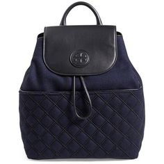 Tory Burch 'Marion' QuiltedFlannel Backpack (11 470 UAH) ❤ liked on Polyvore featuring bags, backpacks, tory navy, tory burch, navy bag, flap backpack, tory burch backpack and quilted bag